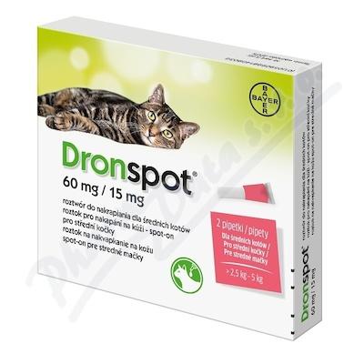 Dronspot 60mg/15mg střední kočky spot-on 2x0.7ml - Veterinární přípravky a potřeby pro vaše mazlíčky.