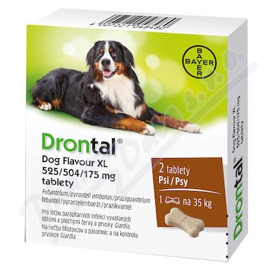 Drontal Dog Flavour XL 525/504/175mg psy tbl.2 - Veterinární přípravky a potřeby pro vaše mazlíčky.